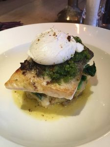 Pan fried cod with poached egg