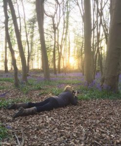 Bluebells Kathryn on floor taking photos